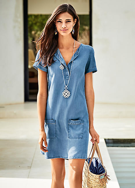 New  Women Since Years And Never Goes Out Of Trend Denim Shirt Dresses Can