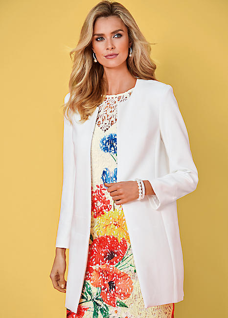 Smart longline jacket by kaleidoscope kaleidoscope for Jacket dresses for wedding guest