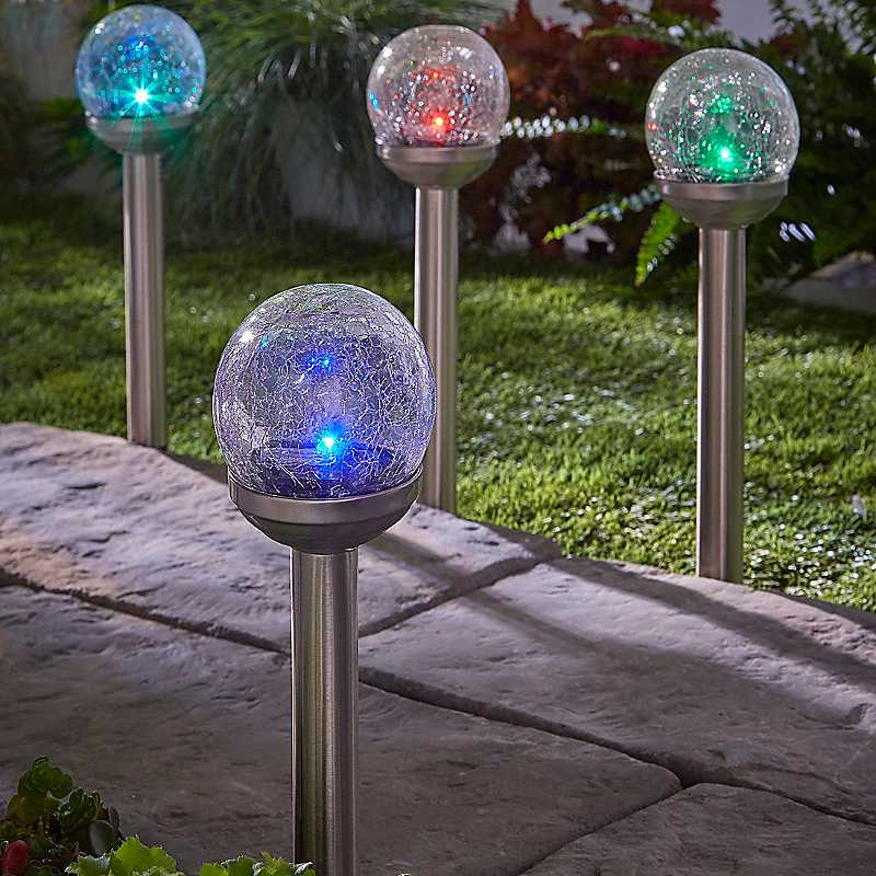 Set of 4 Solar Powered Rainbow Crackle Globe Stake Lights