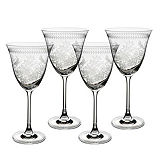 Portmeirion Botanic Garden Set of 4 Etched Glass Wine Glasses