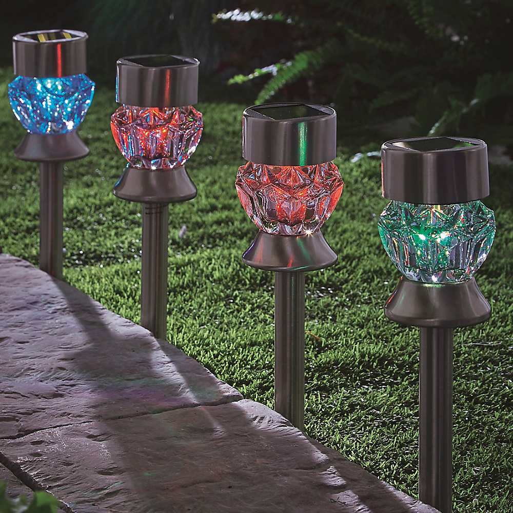 set of 4 solar crystal glass stainless steel multi purpose
