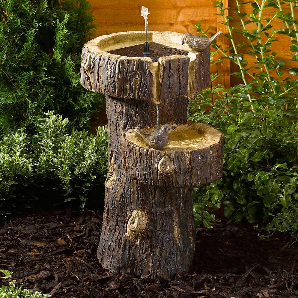 Solar Powered Tree Trunk Birdbath Fountain By Kaleidoscope